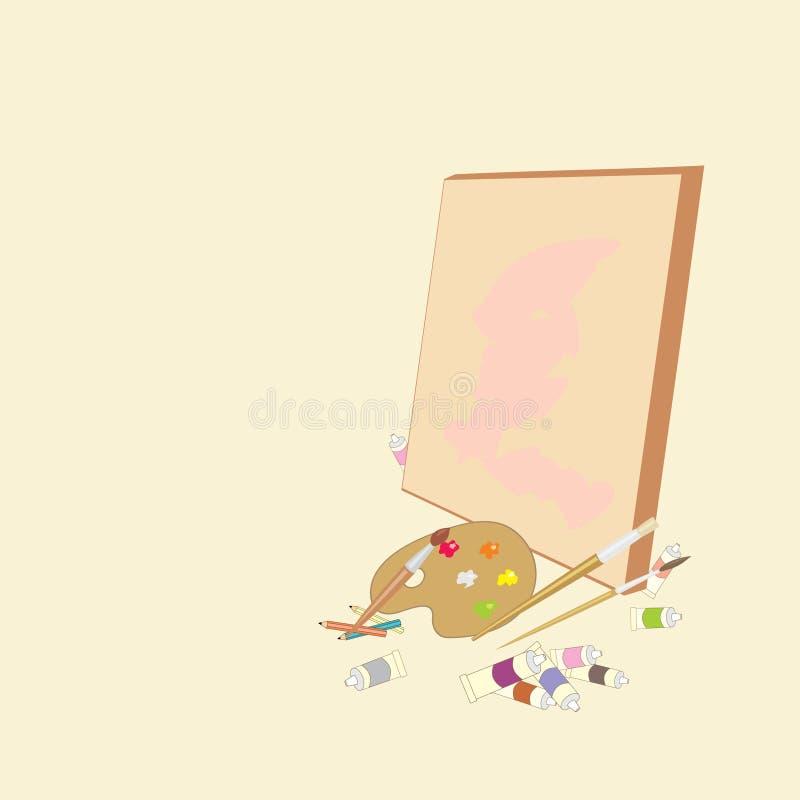 Toile avec une palette, des peintures à l'huile, des brosses et des crayons illustration libre de droits