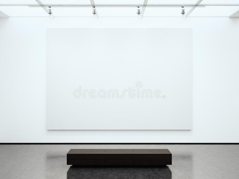 Toile blanche vide de photo tenant la galerie contemporaine Expo moderne de l'espace ouvert avec le plancher en béton Endroit pou images stock