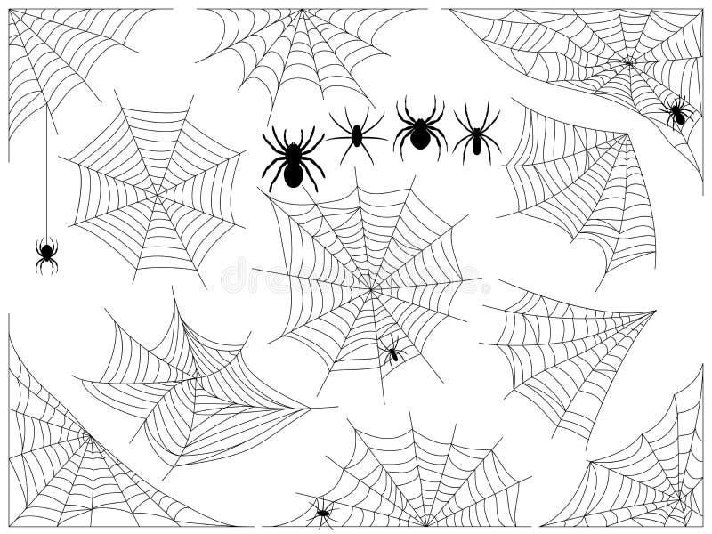 Toile d'araignée de Halloween Collection de toile d'araignée, d'isolement sur le blanc illustration stock