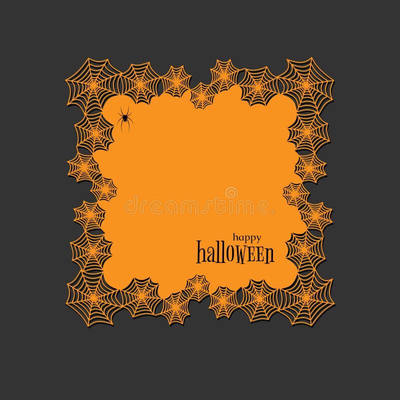 Toile d'araignée ronde de thème de Halloween de papier de lasercut de napperon de dentelle et napperon carré de bannière de modèl illustration libre de droits