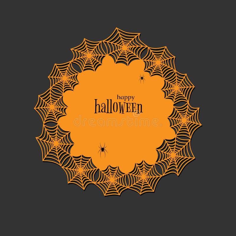 Toile d'araignée ronde de thème de Halloween de papier de lasercut de napperon de dentelle et napperon rond de bannière de modèle illustration stock