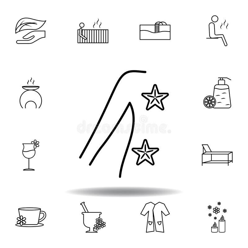 ?toile de forme de la mer 5pointed, ic?ne d'ensemble de massage Ensemble détaillé de station thermale et détendre l'icône d'illus illustration stock