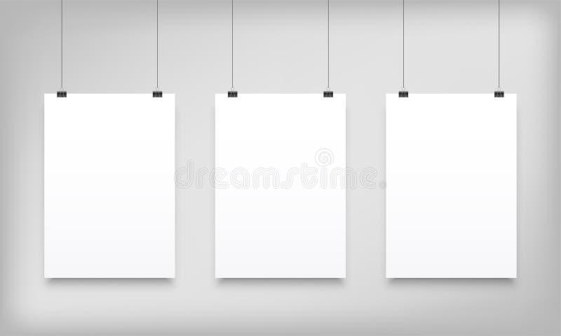 Toile de papier accrochante blanche de vecteur de maquettes d'affiche illustration de vecteur