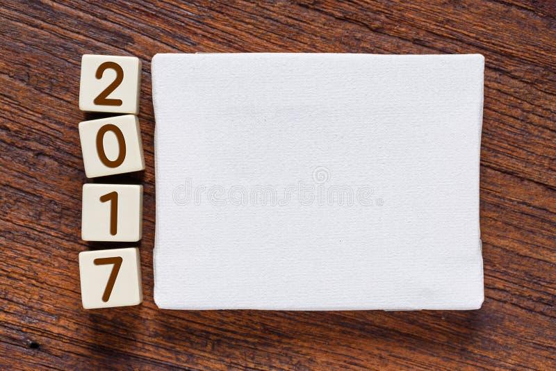 Toile vide avec l'année 2017 numérique image stock