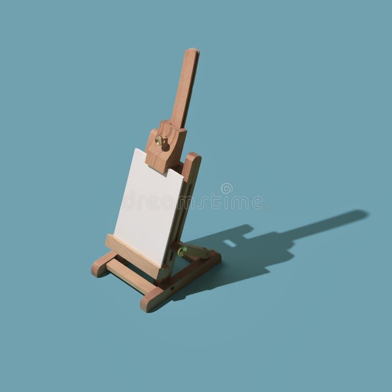 Toile vide sur un chevalet miniature illustration stock