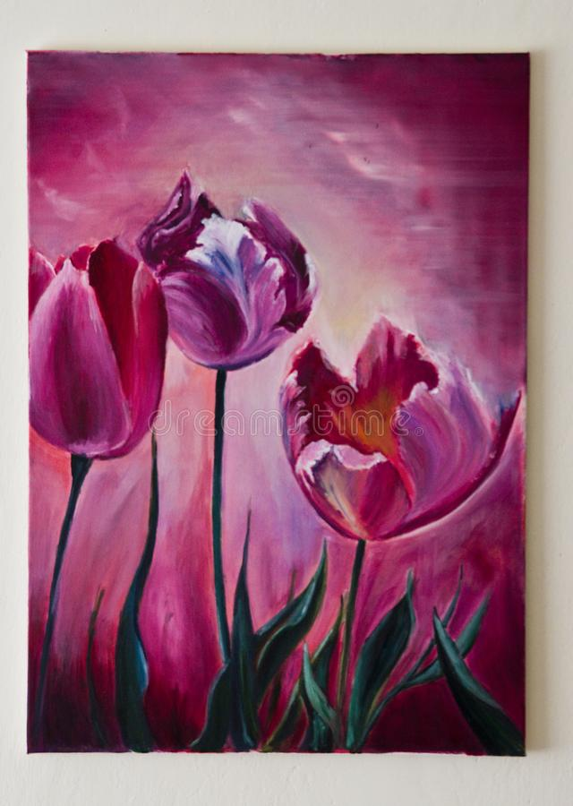 Toile violette ou pourpre d'illustration peinte - de tulipes illustration de vecteur