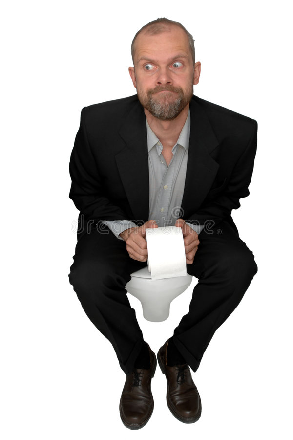 Toilet. Man on wc isolated on white royalty free stock photos