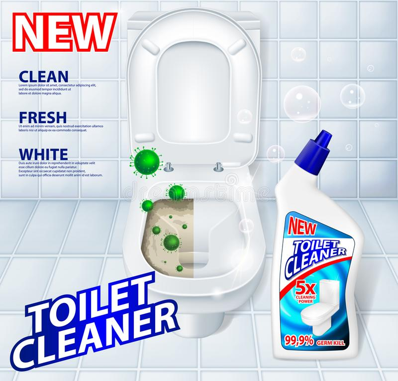 Toilet antibacterial, detergent cleaner ad poster including green microbes royalty free illustration