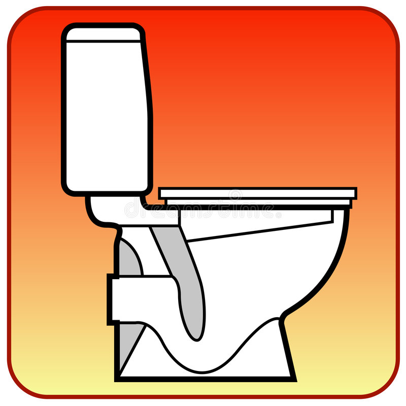 Toilet bowl. White on orange background, in details drawn, vector illustration for bathroom royalty free illustration