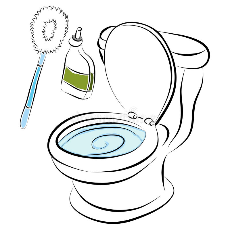Toilet Bowl Cleaning Tools. An image of a toilet bowl cleaning tools vector illustration