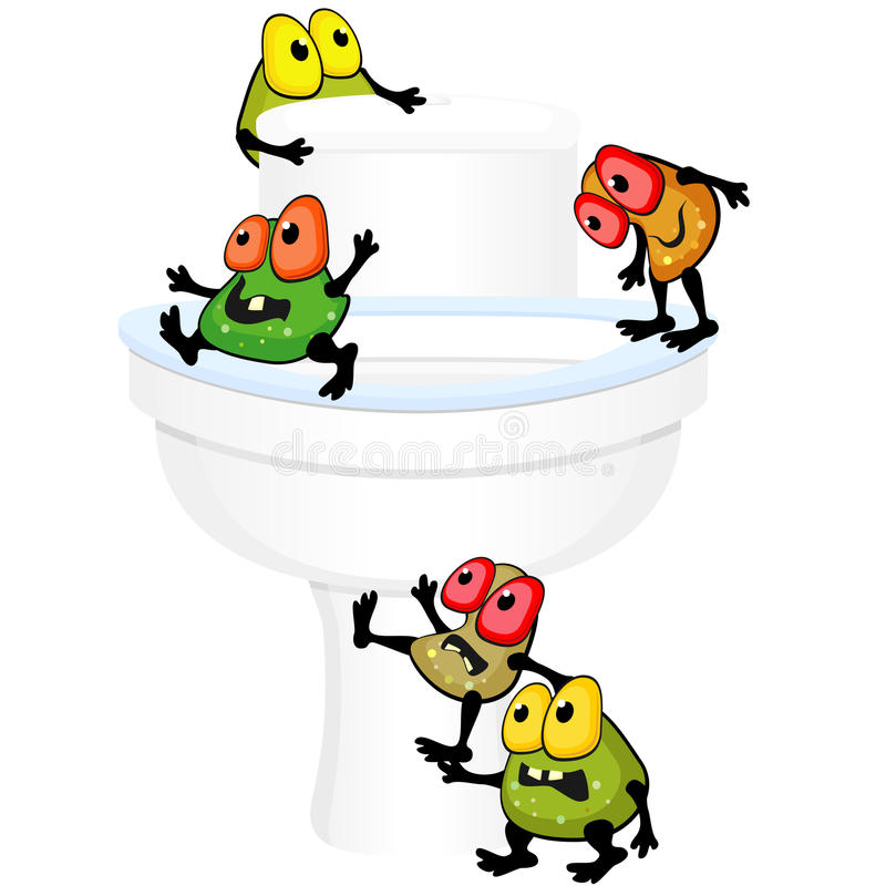Toilet bowl with germs. Ugly germs are walking around toilet bowl royalty free illustration