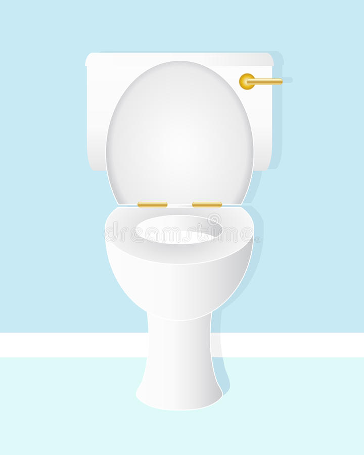 Toilet bowl. An illustration of a white ceramic toilet bowl with gold handle and hinges in a fresh blue bathroom stock illustration