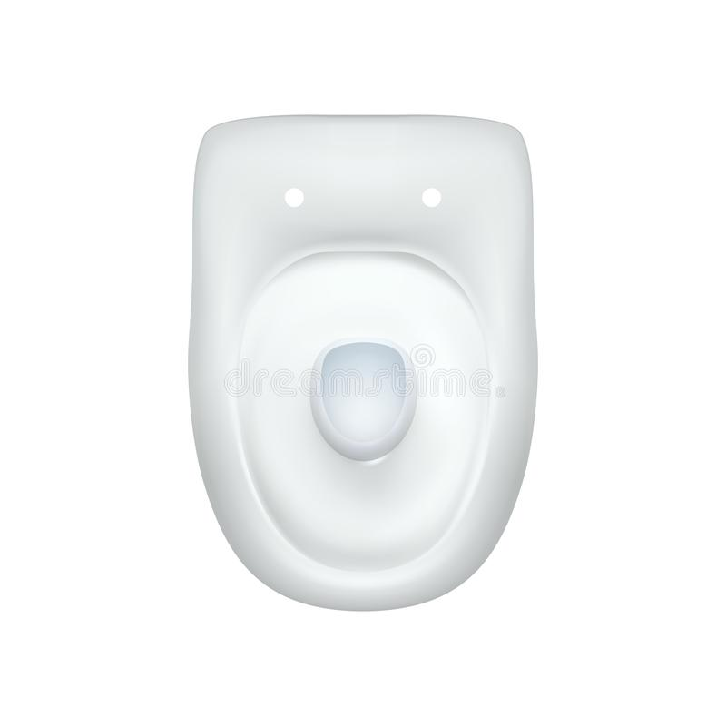 Toilet bowl incomplete modern realistic. Isolated images of white toilet bowl view top. Vector illustration for advertising or web. Design, interior element vector illustration
