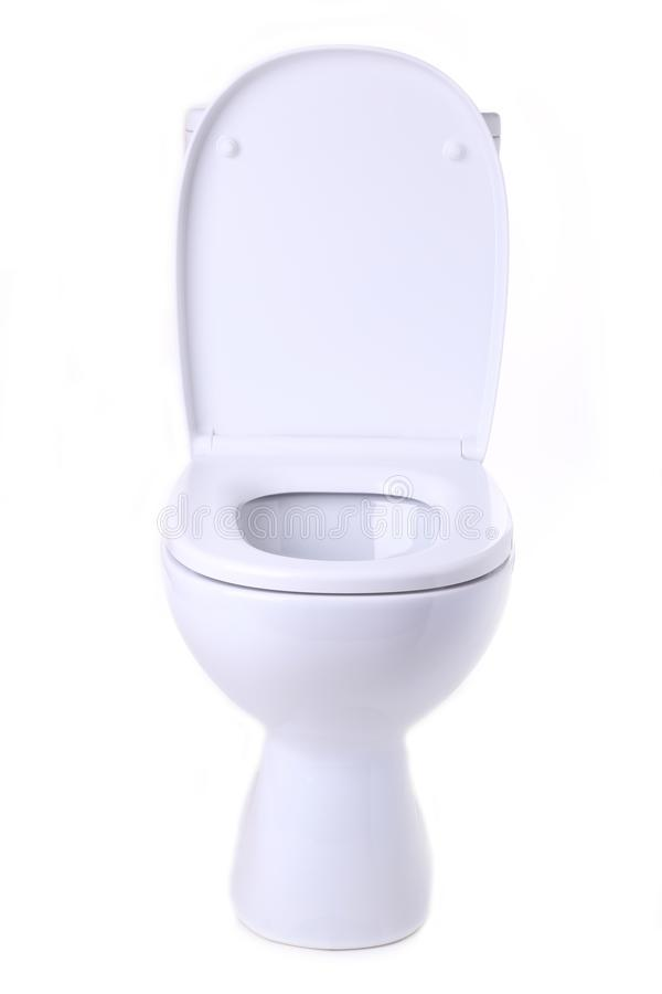Toilet bowl isolated on a white background. Macro royalty free stock photography