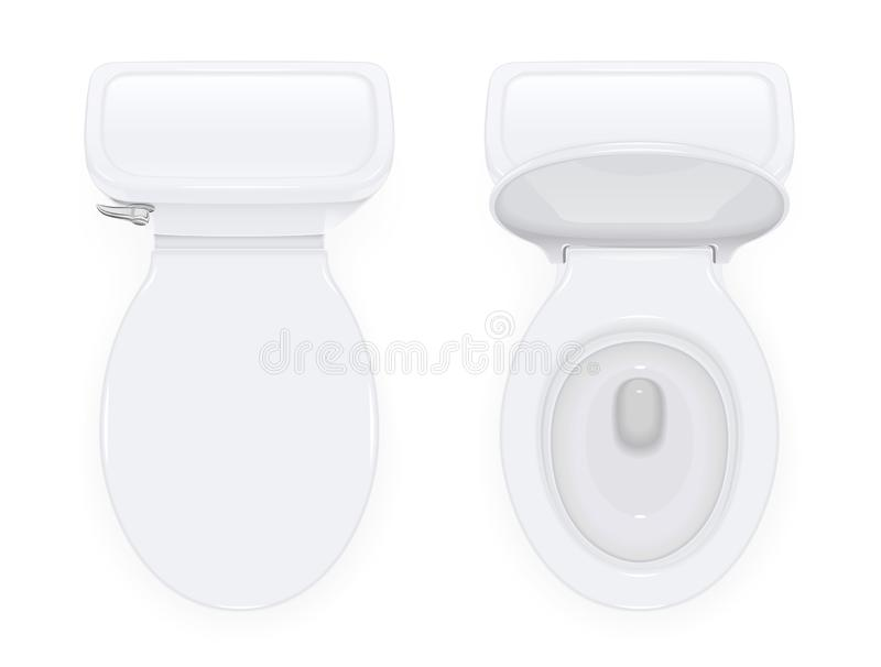 Toilet bowl with open and closed cover. For water closet. Top view sanitary equipment for domestic bathroom. Realistic ceramic pan. Cleaning wc design. Isolated royalty free illustration