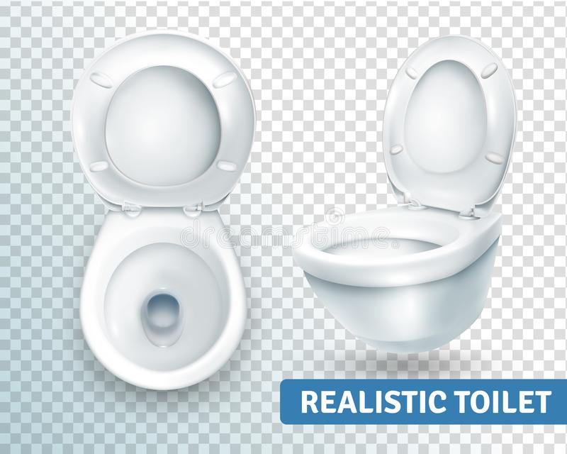 Toilet Bowl Realistic Set. Realistic toilet transparent set with two isolated images of white toilet bowl view from different angles vector illustration stock illustration