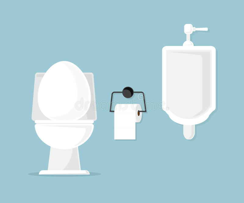 Toilet bowl and urinal in bathroom. Vector illustration stock illustration