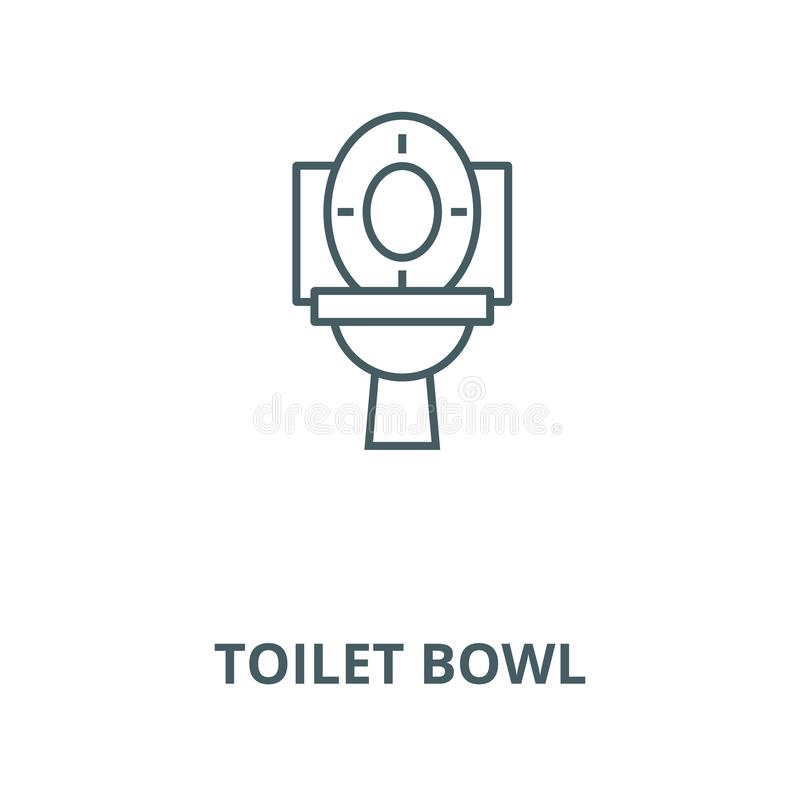 Toilet bowl vector line icon, linear concept, outline sign, symbol stock illustration