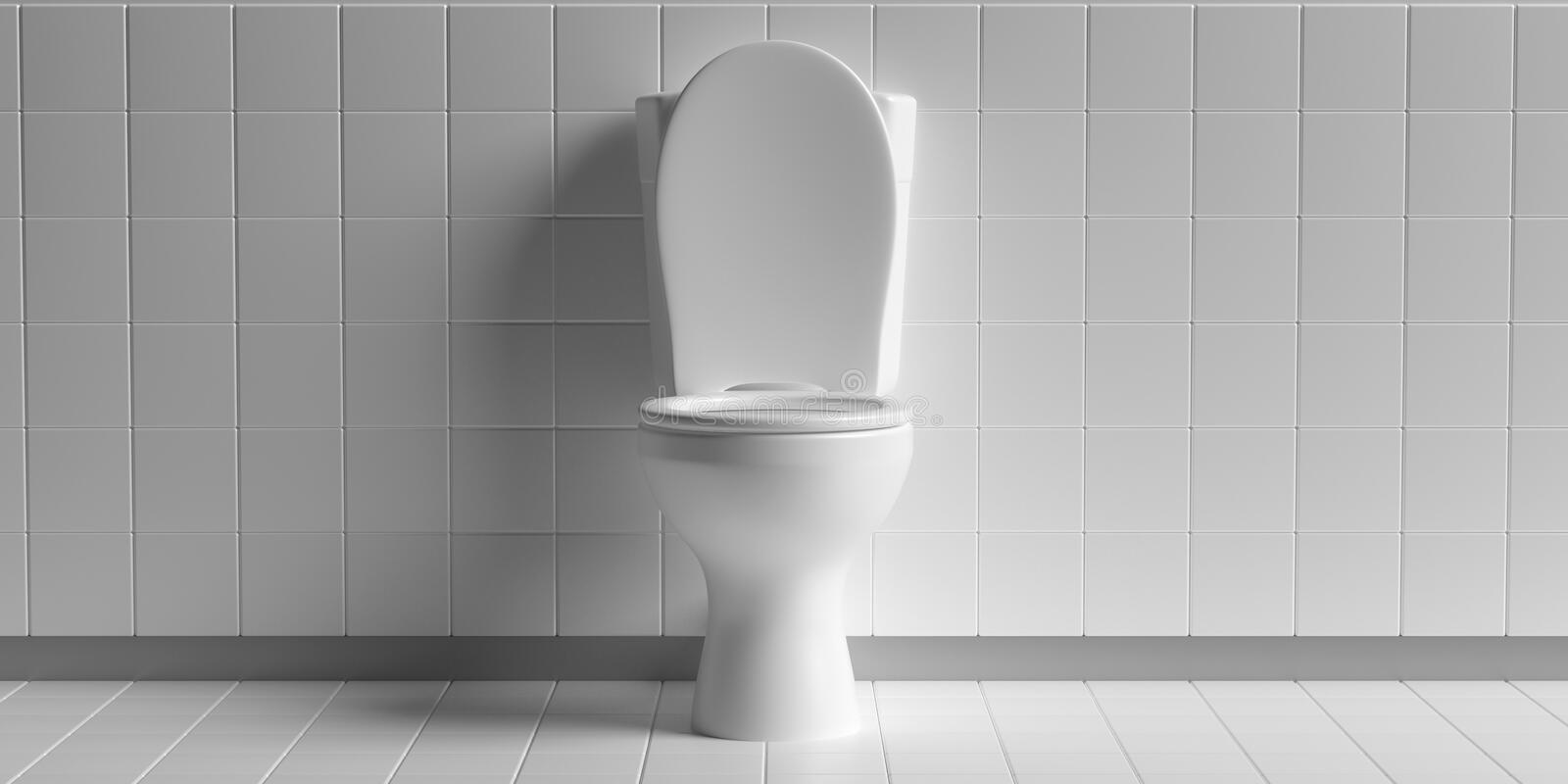 Toilet bowl on white background, copy space. 3d illustration. WC toilet bowl white color on white tiles floor and wall background, copy space. 3d illustration royalty free illustration