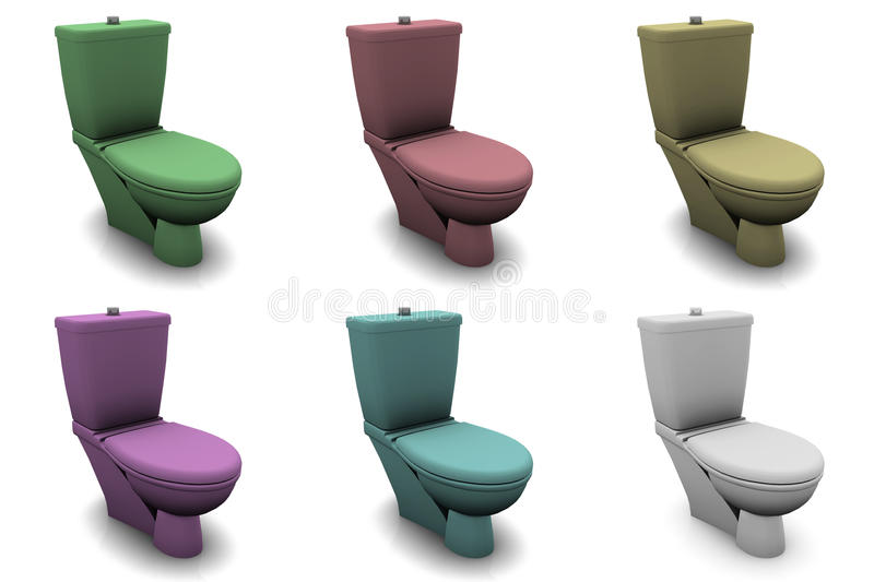 Toilet Bowls. In Different Colors and 3d royalty free illustration