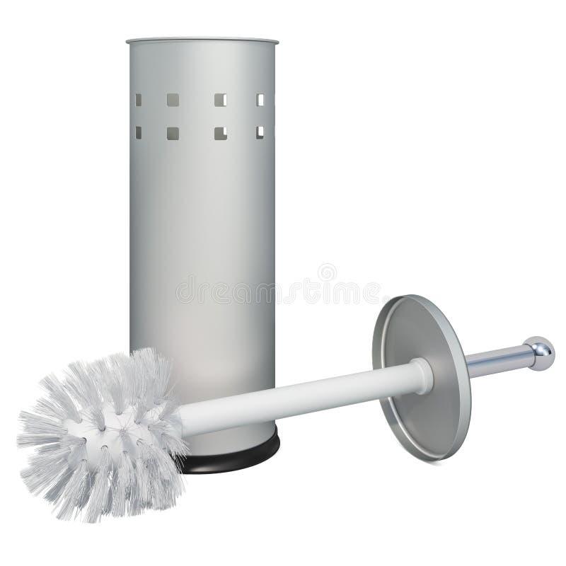 Toilet brush and holder, 3D rendering. Isolated on white background vector illustration