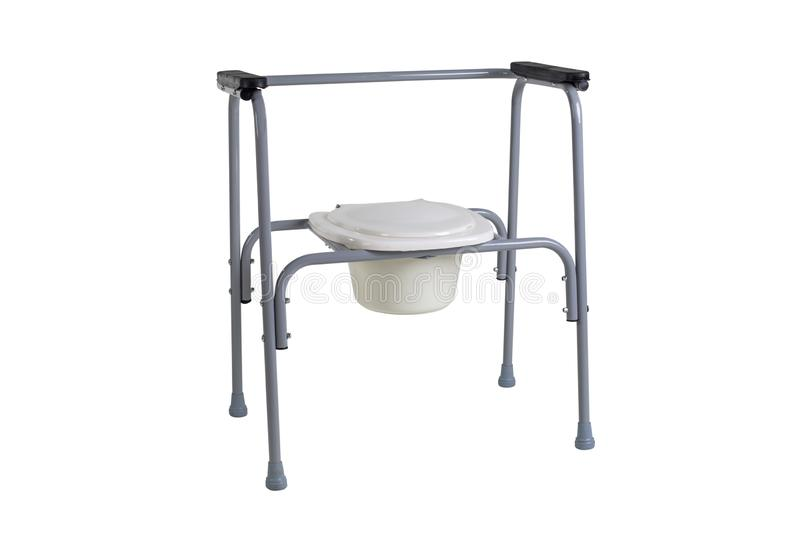 Toilet chair for rehabilitation in postoperative period, the elderly, as well as patients who have disorders of the. Musculoskeletal system isolated on white royalty free stock photography