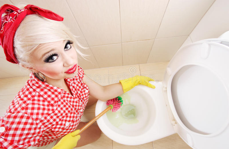 Toilet cleaning stock photography