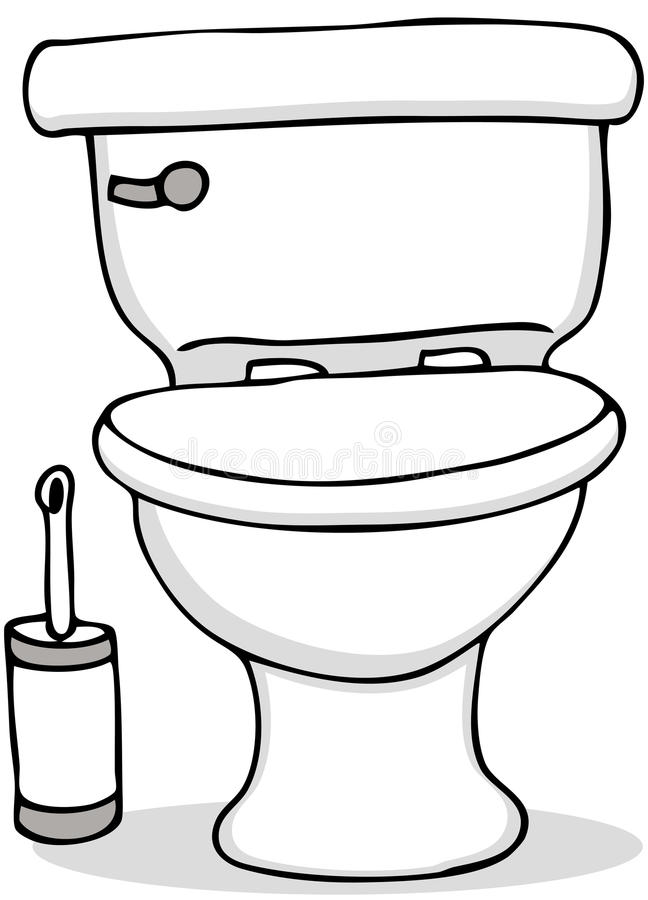 Toilet and Cleaning Brush stock illustration
