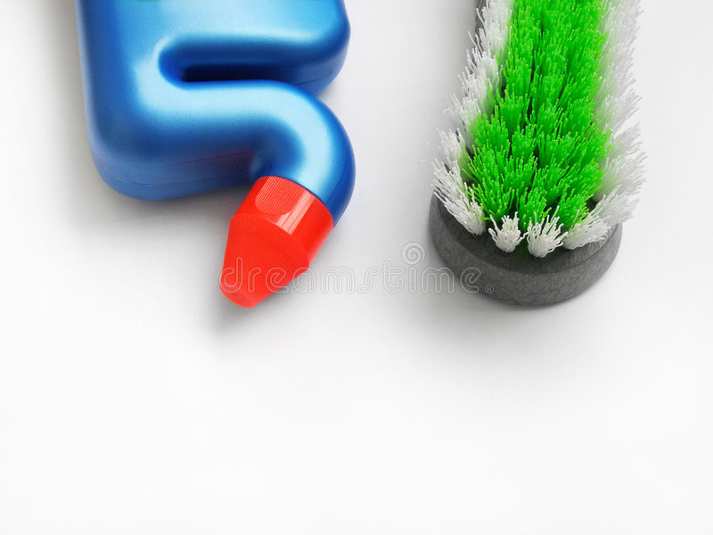 Toilet cleaning supplies stock photo