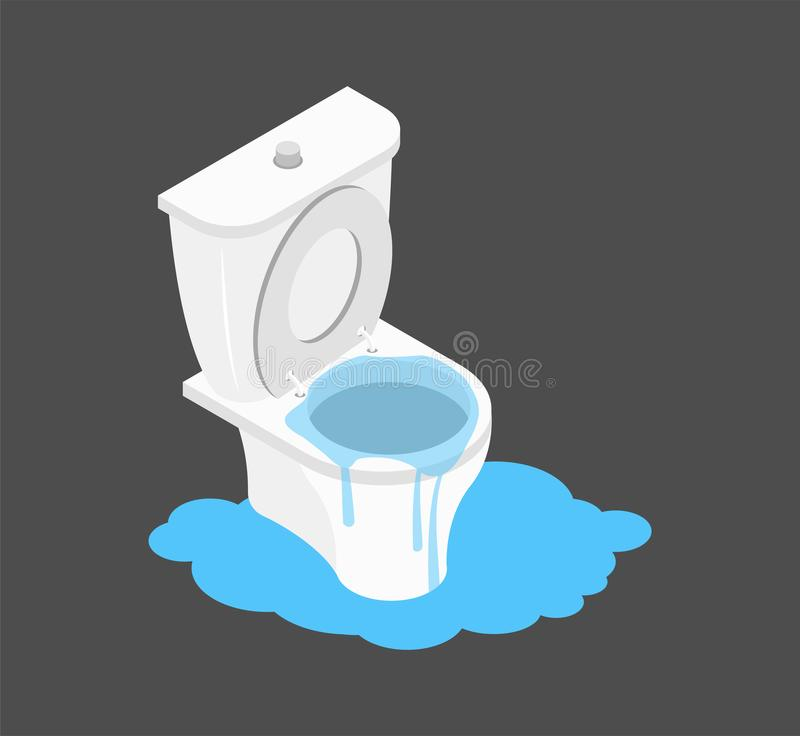 Toilet clogged Isometry. Leakage canalization. Litter in WC stock illustration