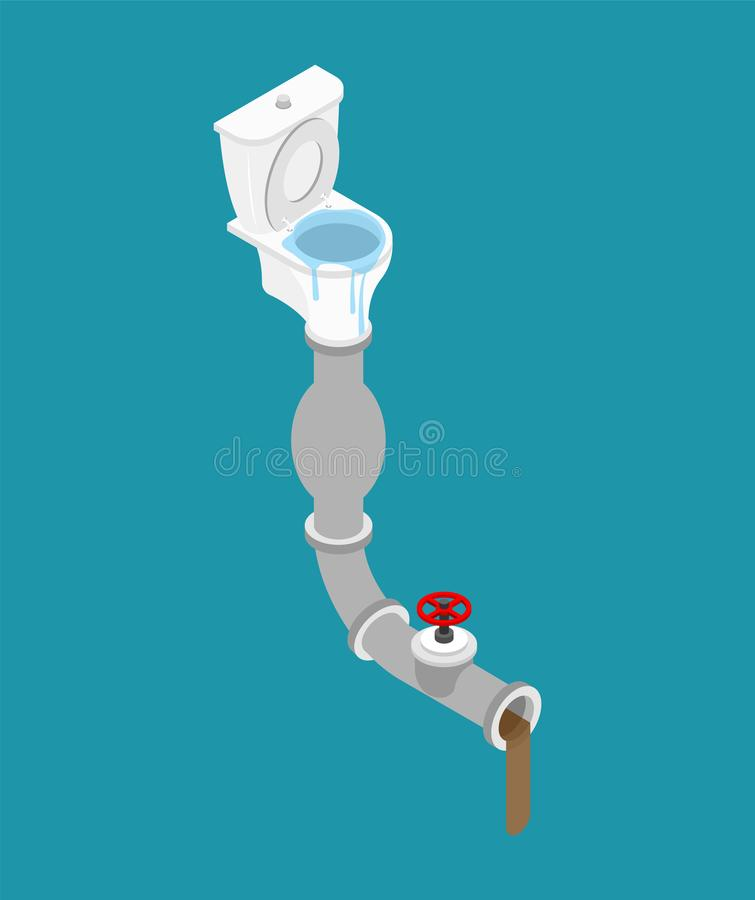 Toilet clogged Isometry. Pipe for water removal. Leakage canalization. Litter in WC stock illustration