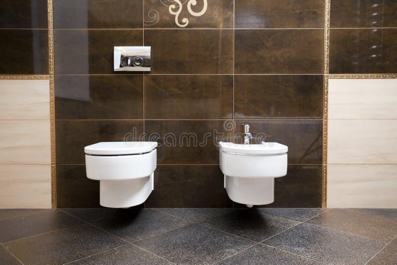 Toilet en bidet royalty-vrije stock afbeelding