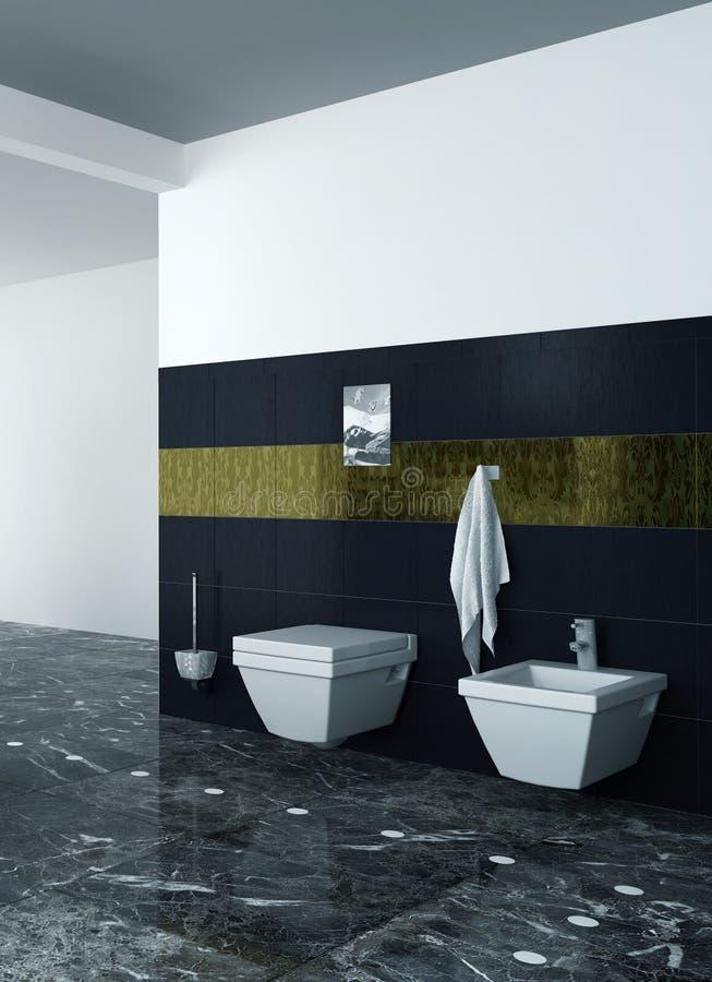 Toilet en bidet tegen zwarte tegels royalty-vrije stock afbeeldingen