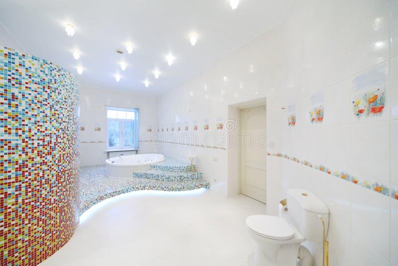 Toilet en Jacuzzi in ruime witte badkamers stock afbeeldingen