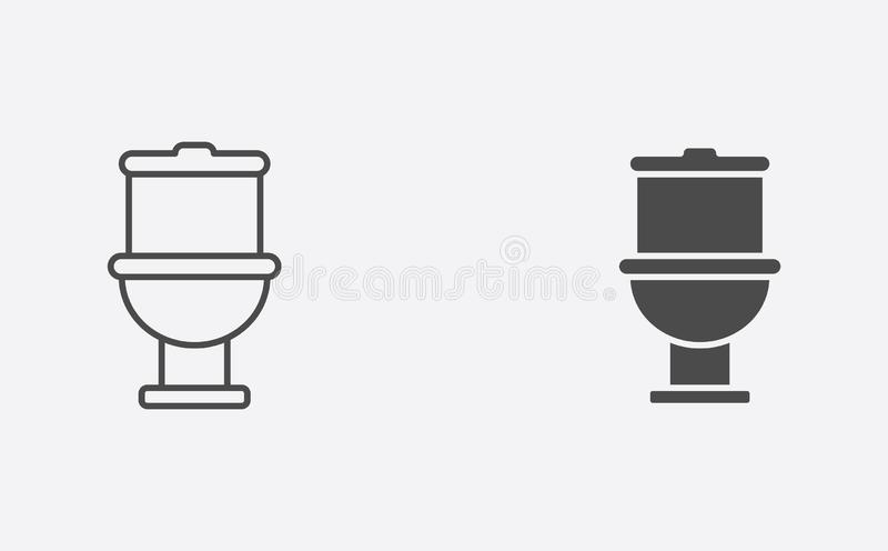 Toilet filled and outline vector icon sign symbol vector illustration