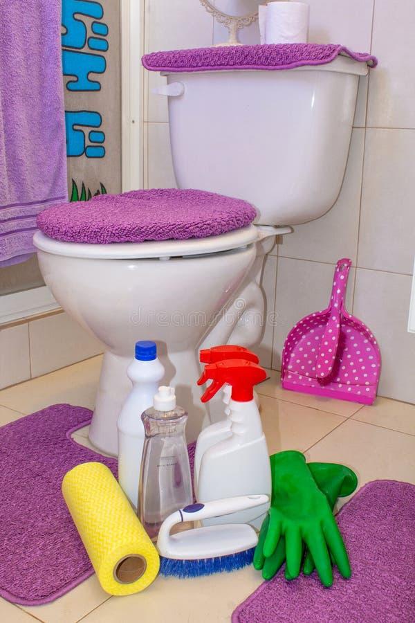 Toilet het schoonmaken het opruimen, detergentia, chemische producten, sponsen royalty-vrije stock afbeelding
