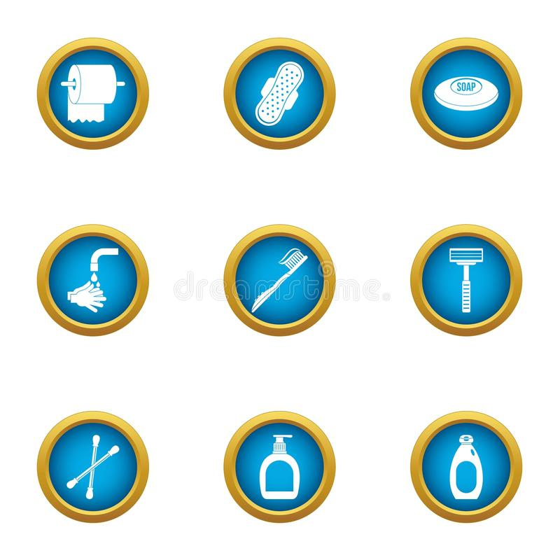 Toilet hygiene icons set, flat style. Toilet hygiene icons set. Flat set of 9 toilet hygiene vector icons for web isolated on white background stock illustration