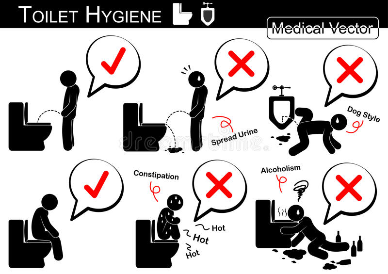 Toilet Hygiene ( Stick man vector ).  royalty free illustration