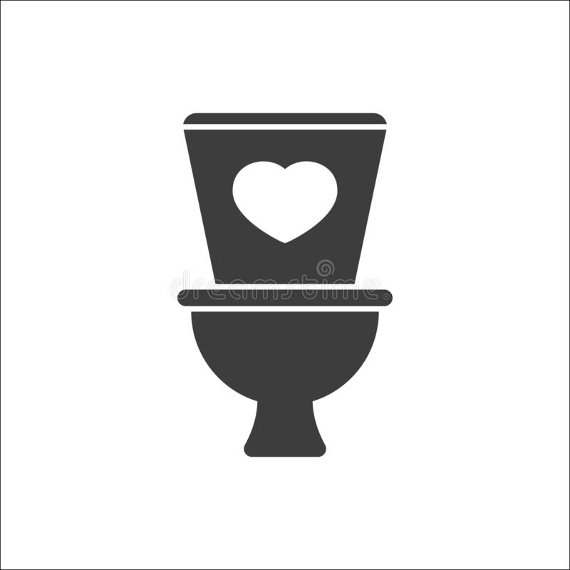 Toilet icon, Bathroom, restroom icon with heart sign. Toilet icon and favorite, like, love, care symbol. Vector royalty free illustration