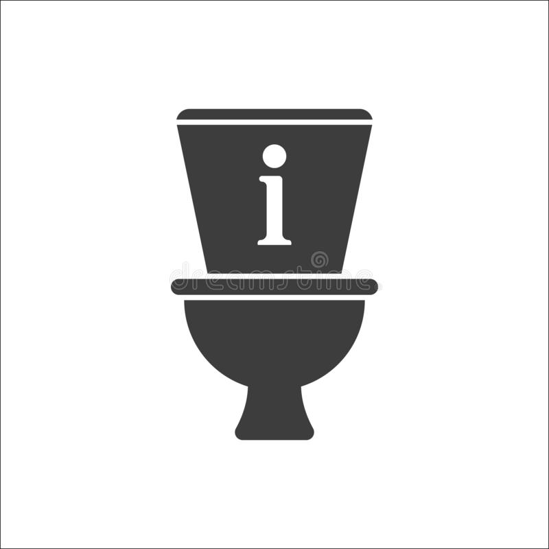 Toilet icon, Bathroom, restroom icon with information sign. Toilet icon and about, faq, help, hint symbol stock illustration