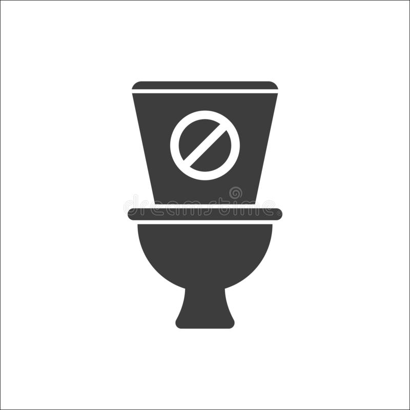 Toilet icon, Bathroom, restroom icon with not allowed sign. Toilet icon and block, forbidden, prohibit symbol royalty free illustration