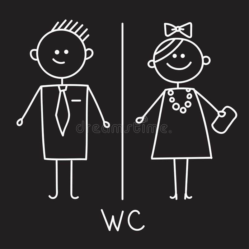 Toilet Icon. Simple Sign Of WC. Men and women WC sign for restroom. Vector Symbol. Chalk sketch on black plate vector illustration