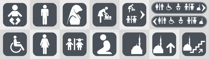 Toilet  icons set boy or girl restroom wc. stock illustration