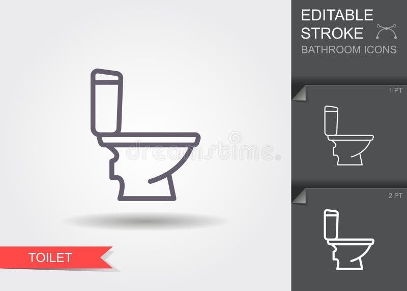 Toilet Lijnpictogram met editable slag met schaduw stock illustratie