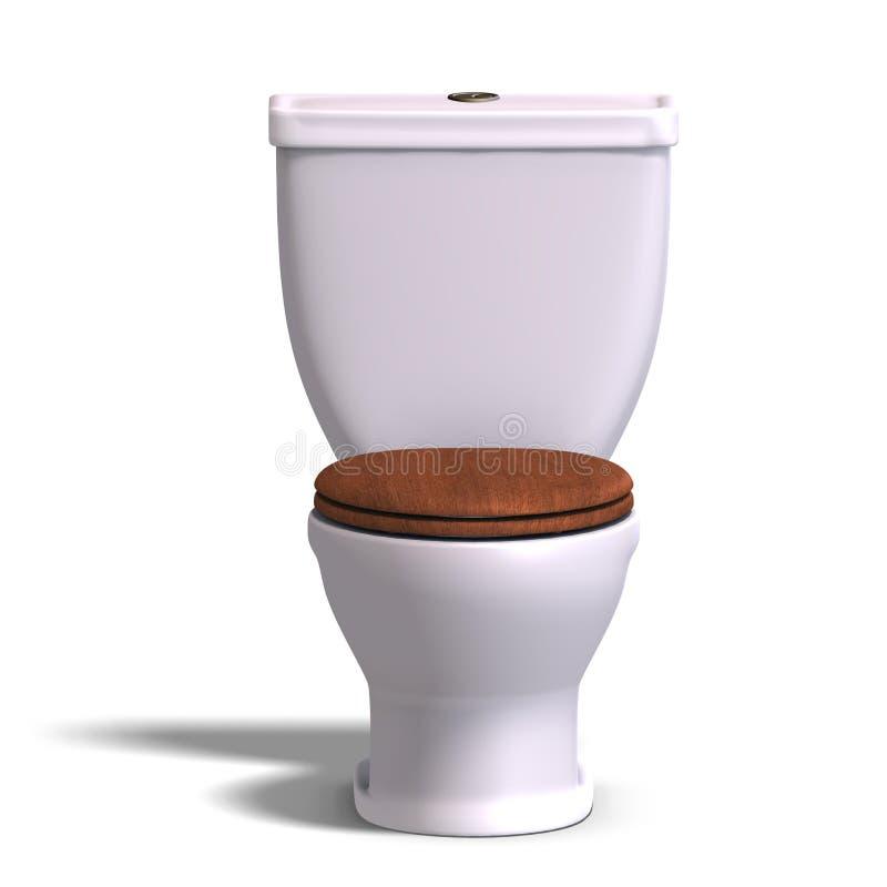 Toilet met houten zetel stock illustratie