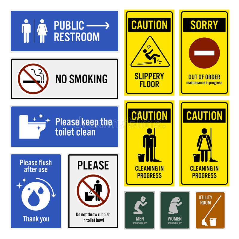 Toilet Notice and Restroom Warning Sign Signboards royalty free illustration