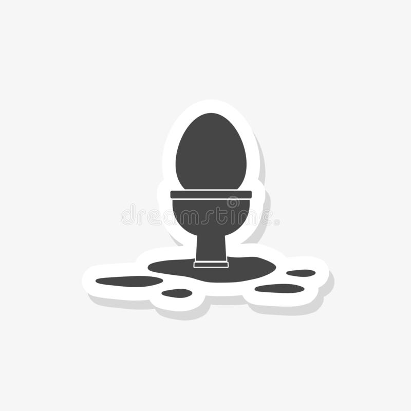 Toilet overflowing icon. Plumbing clipart isolated on white background. Paper sticker vector illustration