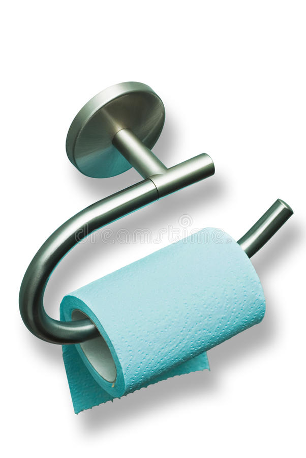 Toilet pape. R on a metal holder royalty free stock photography