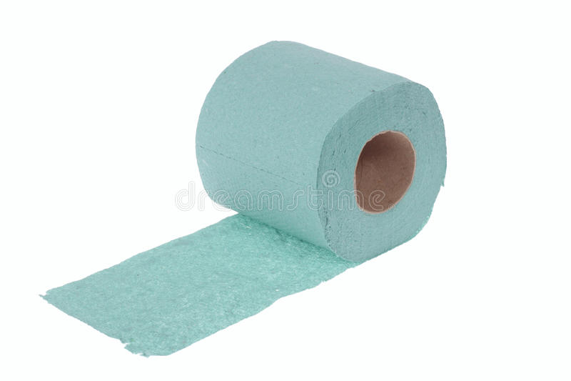 Toilet paper. Green toilet paper, photo on the white background stock photos