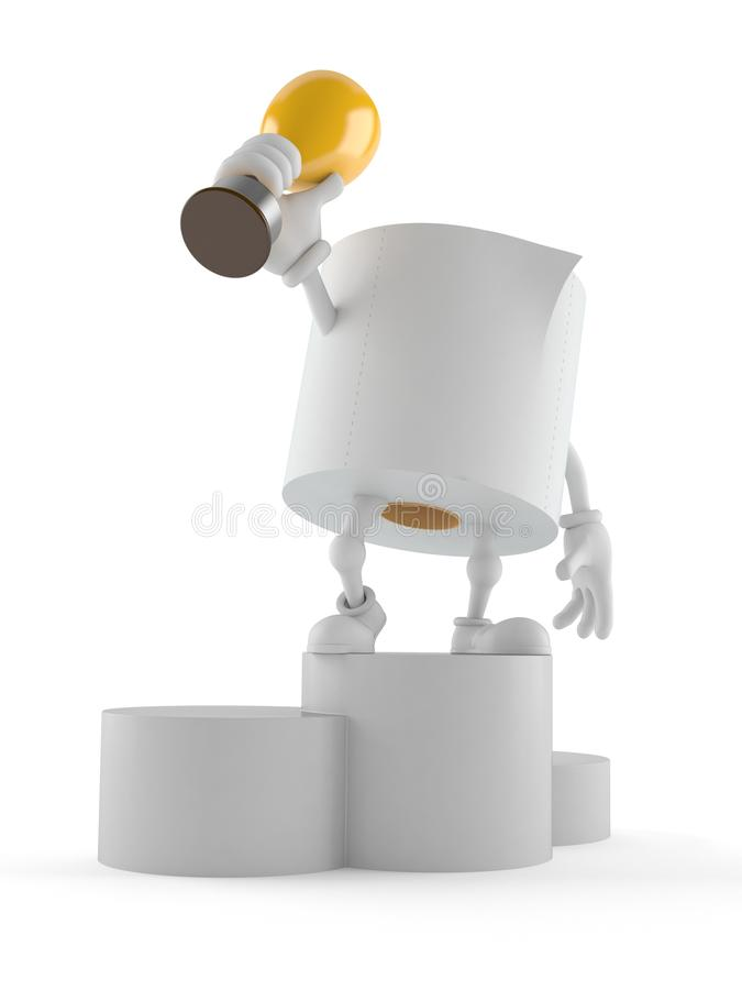 Toilet paper character holding golden trophy royalty free illustration